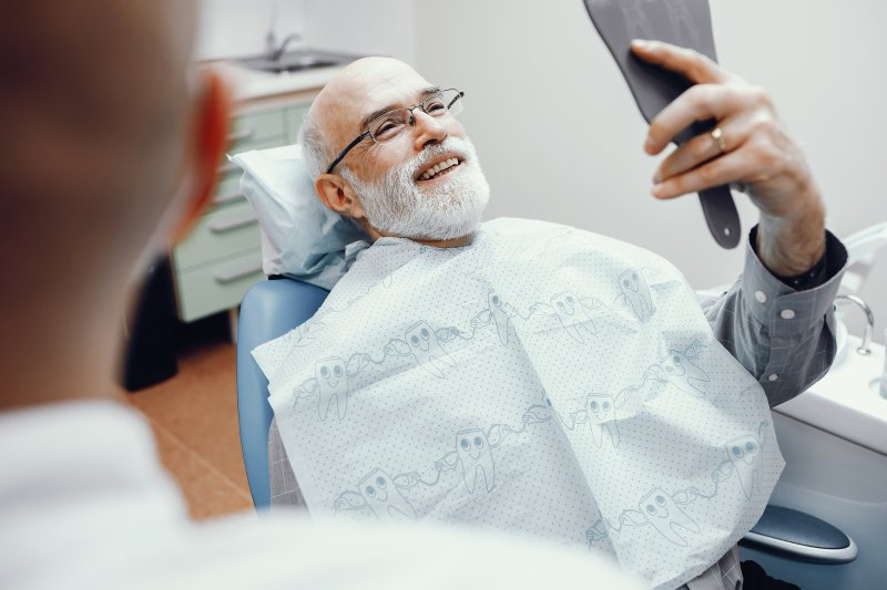 Patient smiling at dental office